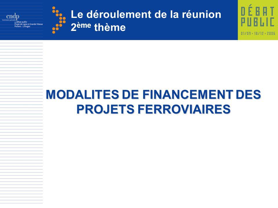 Le déroulement de la réunion 2 ème thème MODALITES DE FINANCEMENT DES PROJETS FERROVIAIRES