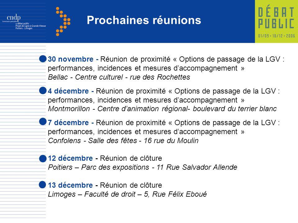 Prochaines réunions 30 novembre - Réunion de proximité « Options de passage de la LGV : performances, incidences et mesures daccompagnement » Bellac -