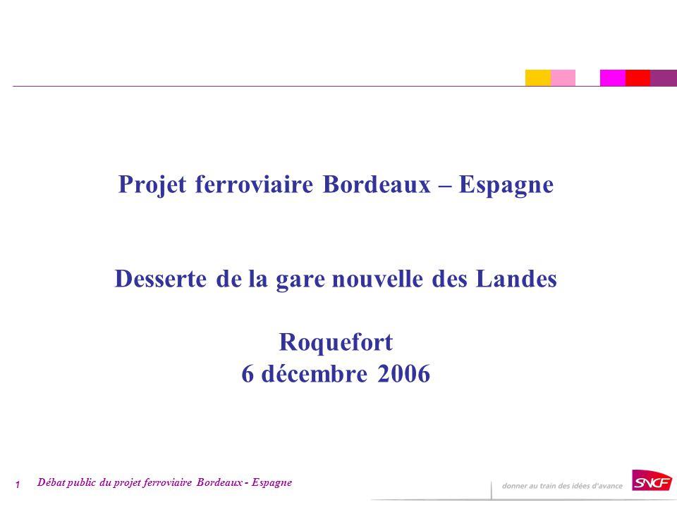 Débat public du projet ferroviaire Bordeaux - Espagne 1 Projet ferroviaire Bordeaux – Espagne Desserte de la gare nouvelle des Landes Roquefort 6 décembre 2006