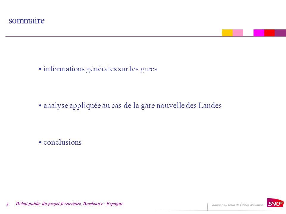 Débat public du projet ferroviaire Bordeaux - Espagne 3 informations générales sur les gares Trafics GL 2004 des gares nouvelles (millions de voyageurs) La SNCF a maintenant une expérience de la mise en place de gares nouvelles et mène des analyses de la fréquentation des 3 gares du TGV Méditerranée (Valence, Avignon, Aix).