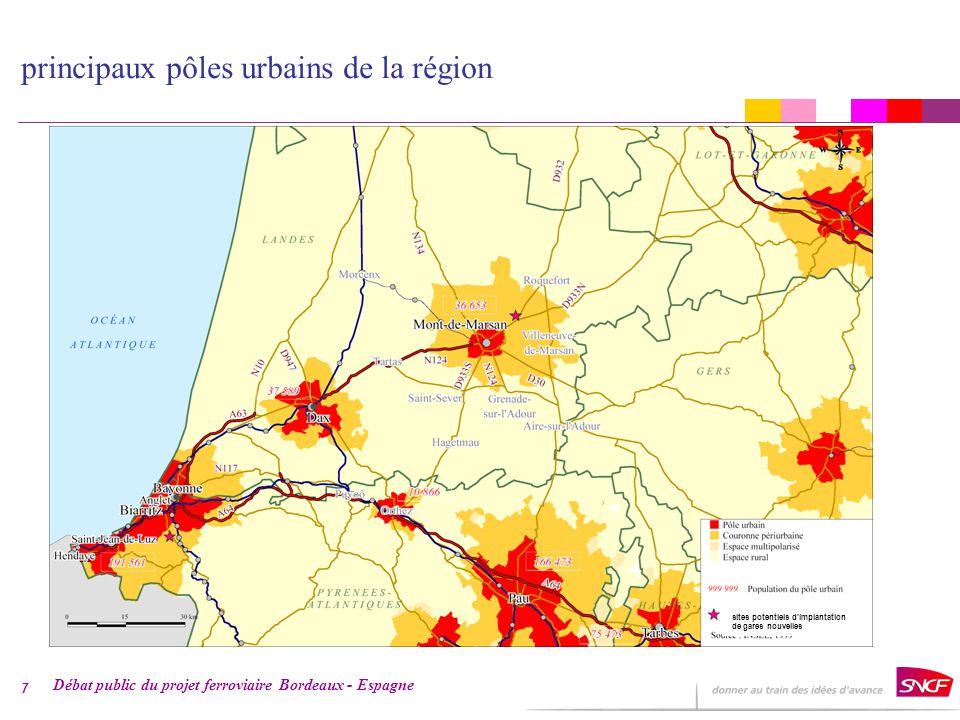 Débat public du projet ferroviaire Bordeaux - Espagne 7 sites potentiels dimplantation de gares nouvelles principaux pôles urbains de la région