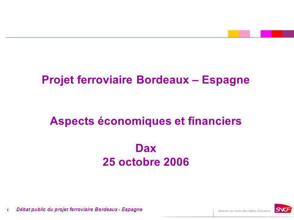 Débat public du projet ferroviaire Bordeaux - Espagne 1 Projet ferroviaire Bordeaux – Espagne Aspects économiques et financiers Dax 25 octobre 2006