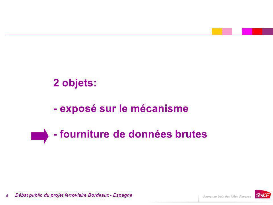 Débat public du projet ferroviaire Bordeaux - Espagne 6 2 objets: - exposé sur le mécanisme - fourniture de données brutes