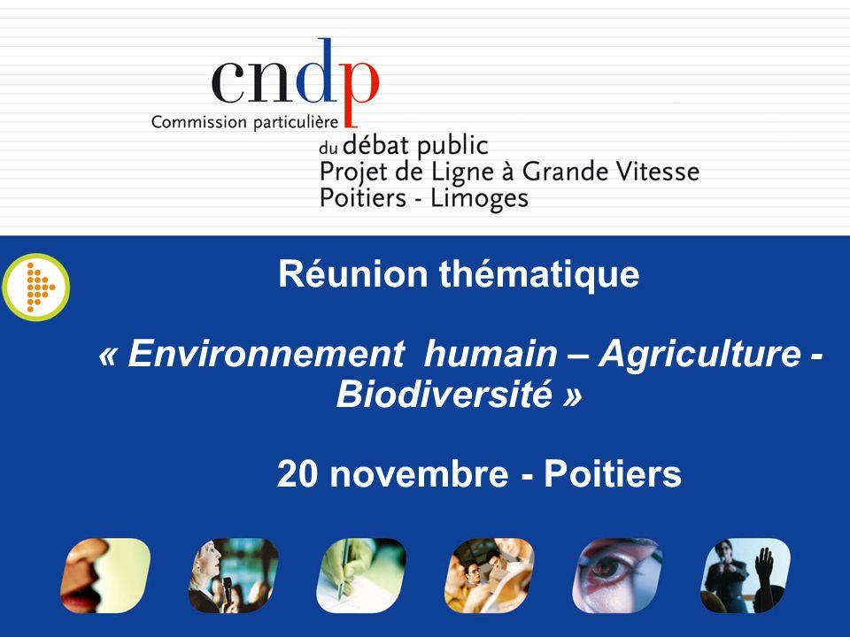 Réunion thématique « Environnement humain – Agriculture - Biodiversité » 20 novembre - Poitiers
