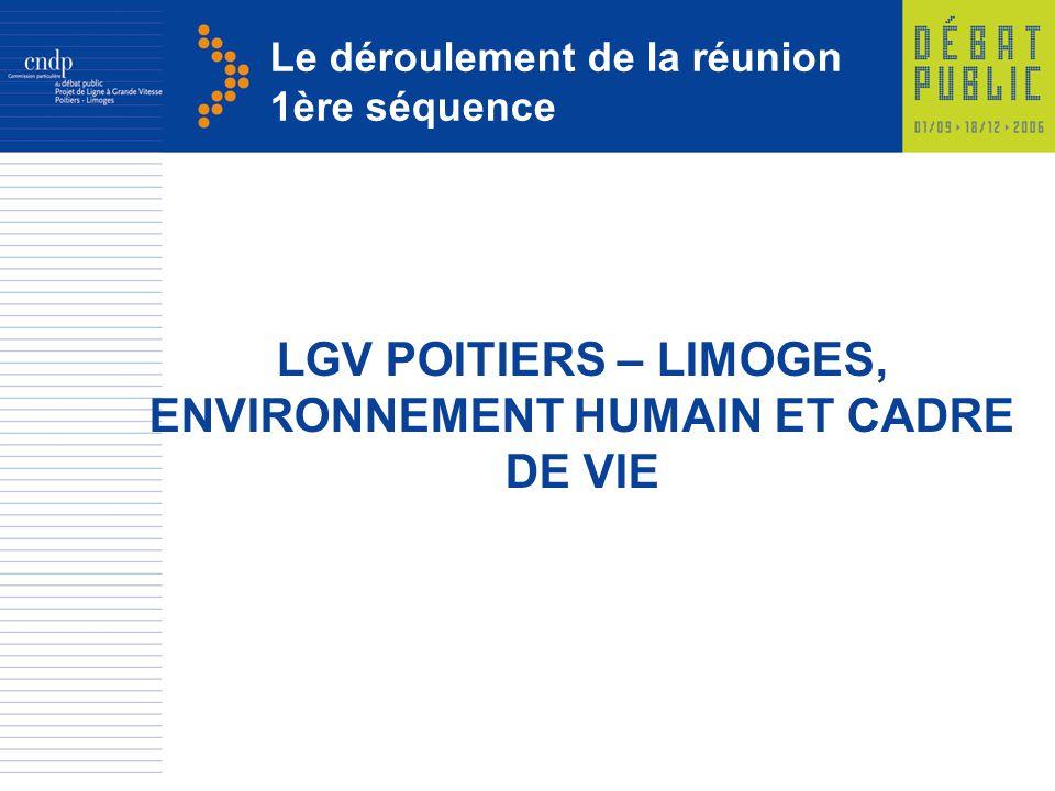 Le déroulement de la réunion 1ère séquence LGV POITIERS – LIMOGES, ENVIRONNEMENT HUMAIN ET CADRE DE VIE