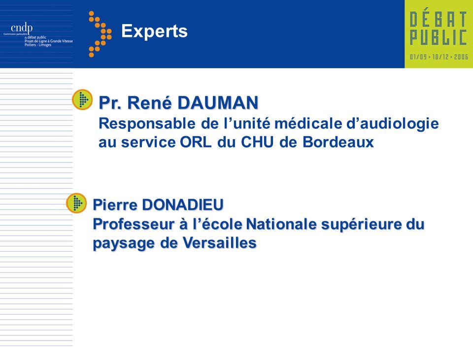 Experts Pr. René DAUMAN Responsable de lunité médicale daudiologie au service ORL du CHU de Bordeaux Pierre DONADIEU Professeur à lécole Nationale sup