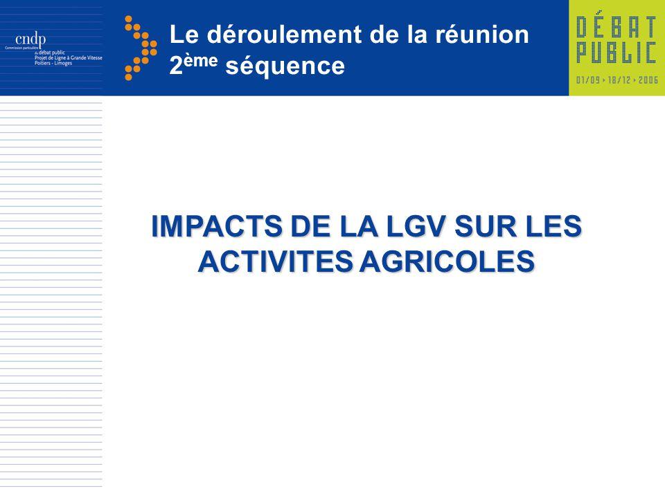 Le déroulement de la réunion 2 ème séquence IMPACTS DE LA LGV SUR LES ACTIVITES AGRICOLES