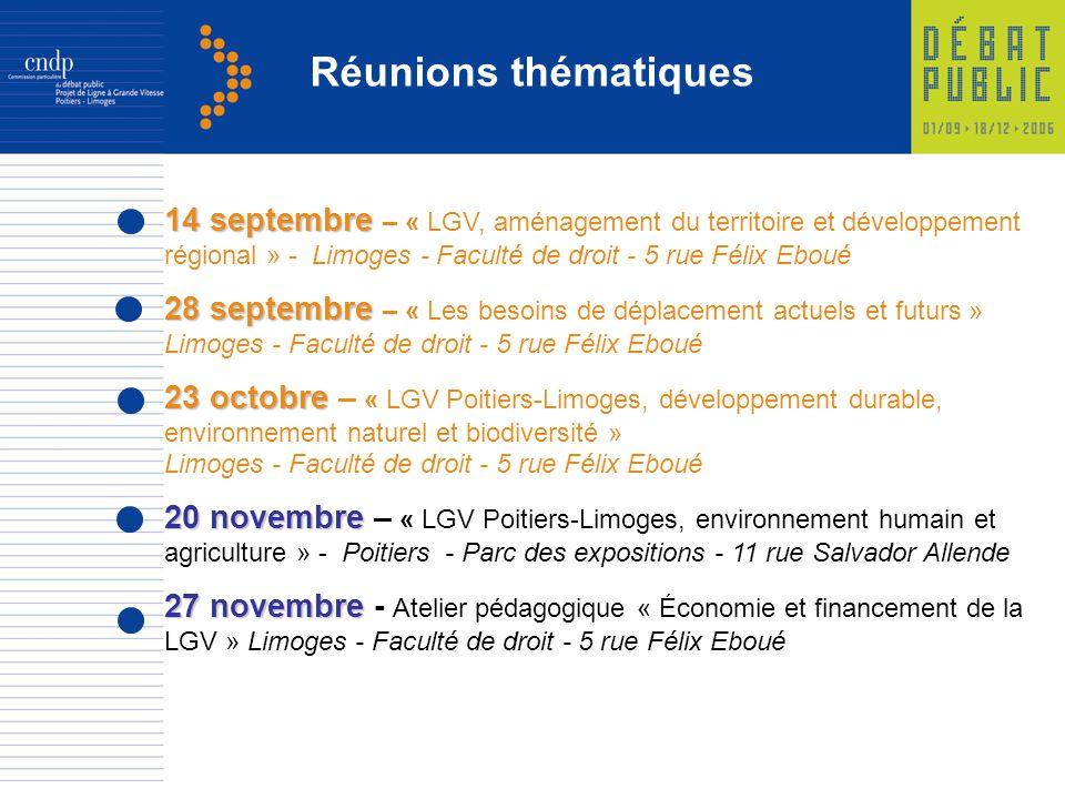 14 septembre 14 septembre – « LGV, aménagement du territoire et développement régional » - Limoges - Faculté de droit - 5 rue Félix Eboué 28 septembre