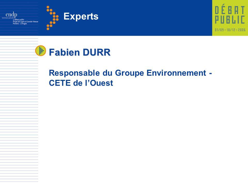 Experts Fabien DURR Responsable du Groupe Environnement - CETE de lOuest