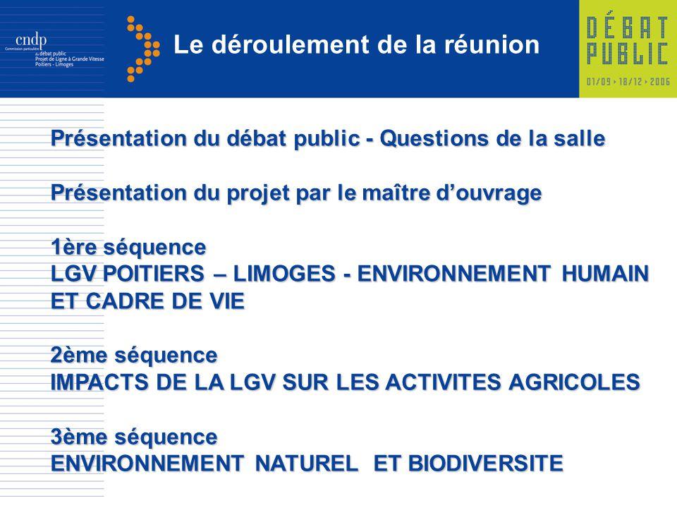 Le déroulement de la réunion Présentation du débat public - Questions de la salle Présentation du projet par le maître douvrage 1ère séquence LGV POIT