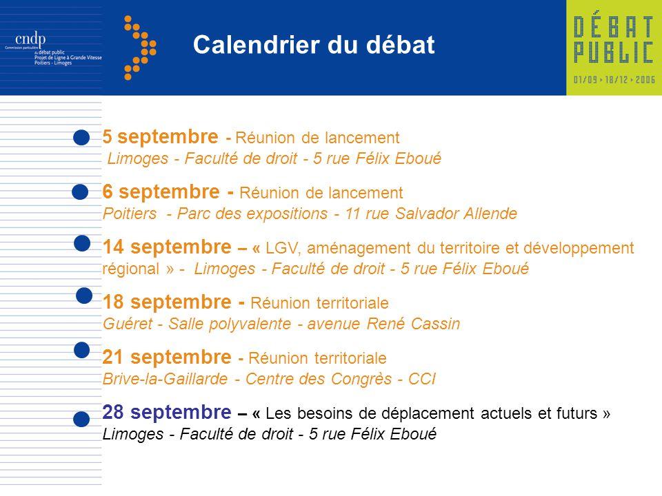 5 septembre - Réunion de lancement Limoges - Faculté de droit - 5 rue Félix Eboué 6 septembre - Réunion de lancement Poitiers - Parc des expositions -