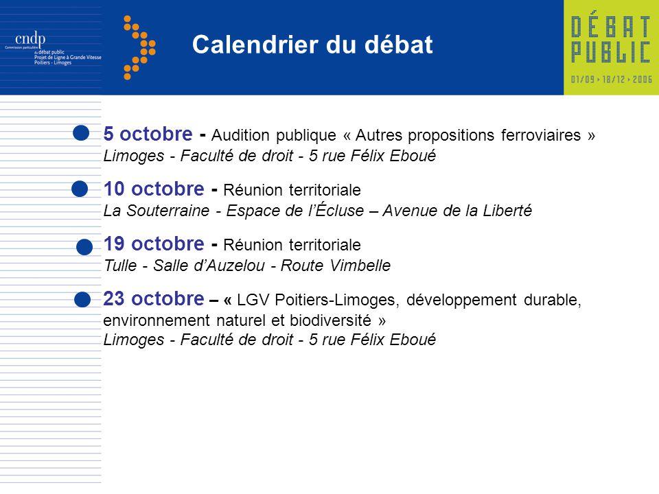 5 octobre - Audition publique « Autres propositions ferroviaires » Limoges - Faculté de droit - 5 rue Félix Eboué 10 octobre - Réunion territoriale La