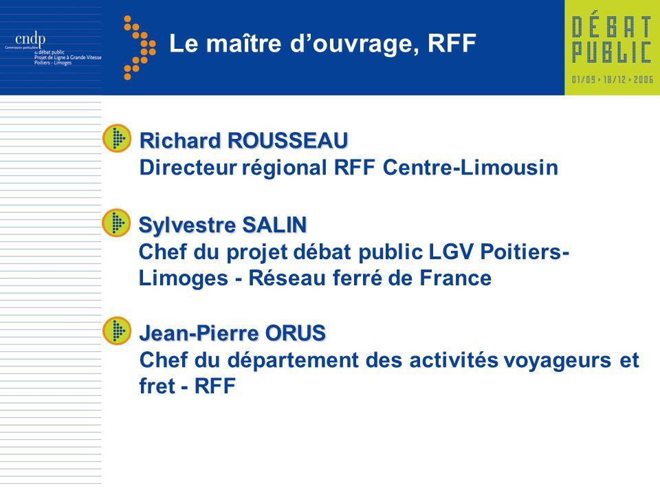 Le maître douvrage, RFF Jean-Pierre ORUS Chef du département des activités voyageurs et fret - RFF Sylvestre SALIN Chef du projet débat public LGV Poi
