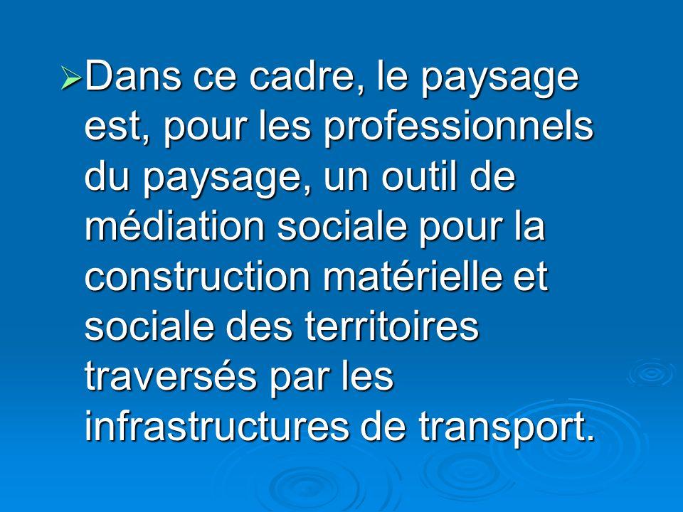 Dans ce cadre, le paysage est, pour les professionnels du paysage, un outil de médiation sociale pour la construction matérielle et sociale des territoires traversés par les infrastructures de transport.