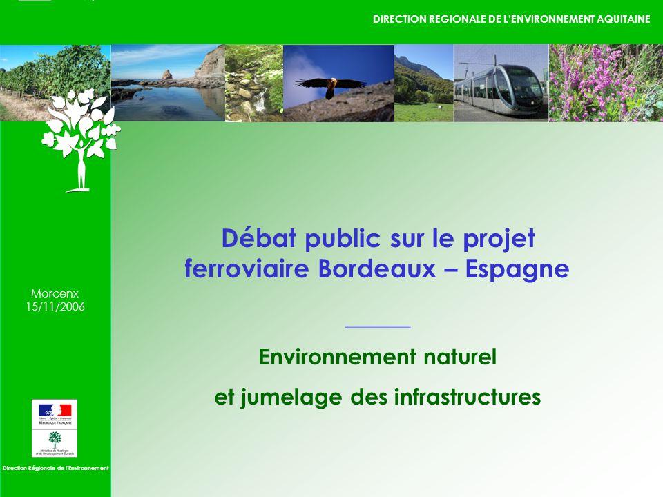 DIRECTION REGIONALE DE LENVIRONNEMENT AQUITAINE 1 / 1 09/10/2006 Direction Régionale de lEnvironnement Morcenx 15/11/2006 Débat public sur le projet ferroviaire Bordeaux – Espagne _____ Environnement naturel et jumelage des infrastructures
