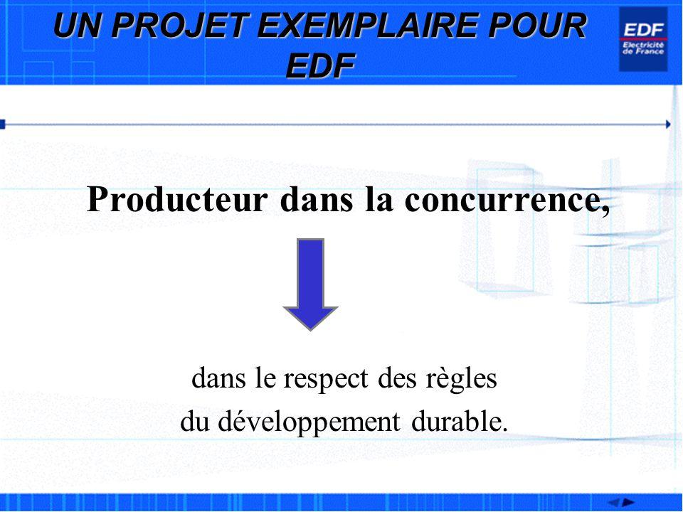 Producteur dans la concurrence, dans le respect des règles du développement durable. UN PROJET EXEMPLAIRE POUR EDF