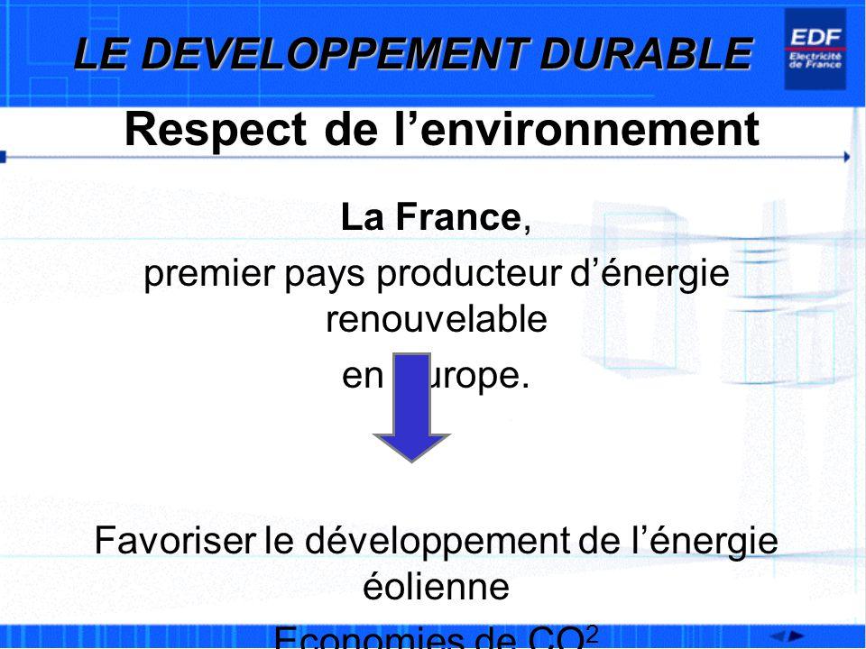 Respect de lenvironnement La France, premier pays producteur dénergie renouvelable en Europe. Favoriser le développement de lénergie éolienne Economie