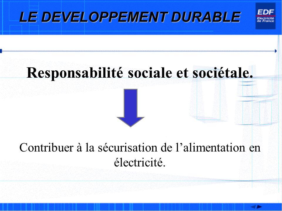 Responsabilité sociale et sociétale. Contribuer à la sécurisation de lalimentation en électricité.