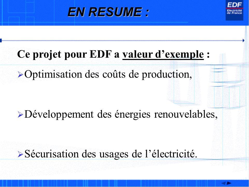 EN RESUME : Ce projet pour EDF a valeur dexemple : Optimisation des coûts de production, Développement des énergies renouvelables, Sécurisation des us