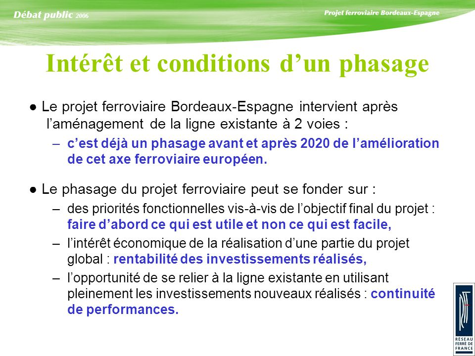 Intérêt et conditions dun phasage Le projet ferroviaire Bordeaux-Espagne intervient après laménagement de la ligne existante à 2 voies : –cest déjà un