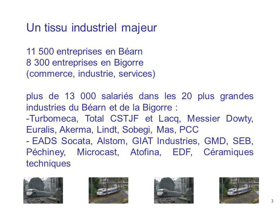 Un tissu industriel majeur 11 500 entreprises en Béarn 8 300 entreprises en Bigorre (commerce, industrie, services) plus de 13 000 salariés dans les 20 plus grandes industries du Béarn et de la Bigorre : -Turbomeca, Total CSTJF et Lacq, Messier Dowty, Euralis, Akerma, Lindt, Sobegi, Mas, PCC - EADS Socata, Alstom, GIAT Industries, GMD, SEB, Péchiney, Microcast, Atofina, EDF, Céramiques techniques 3