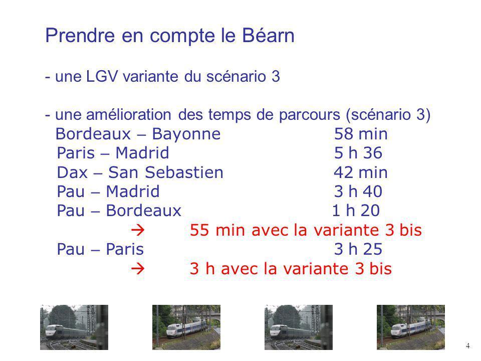 Prendre en compte le Béarn - une LGV variante du scénario 3 - une amélioration des temps de parcours (scénario 3) Bordeaux – Bayonne58 min Paris – Madrid5 h 36 Dax – San Sebastien42 min Pau – Madrid3 h 40 Pau – Bordeaux 1 h 20 55 min avec la variante 3 bis Pau – Paris3 h 25 3 h avec la variante 3 bis 4