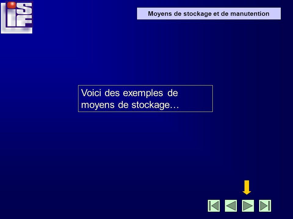 Moyens de stockage et de manutention Voici des exemples de moyens de stockage…