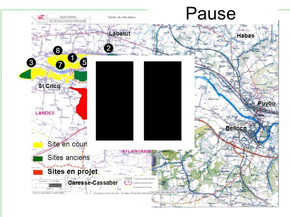 St Cricq Labatut Lahontan Habas Puyôo Bellocq Caresse-Cassaber 1 2 3 4 5 6 7 8 4 9 10 Pause Site en cours Sites anciens Sites en projet