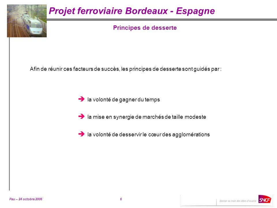 Pau – 24 octobre 20066 Projet ferroviaire Bordeaux - Espagne Principes de desserte Afin de réunir ces facteurs de succès, les principes de desserte so
