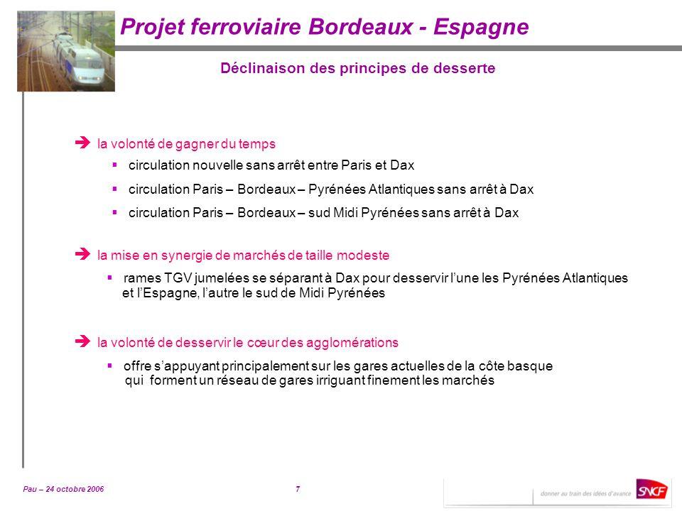 Pau – 24 octobre 20067 Projet ferroviaire Bordeaux - Espagne Déclinaison des principes de desserte la volonté de gagner du temps circulation nouvelle
