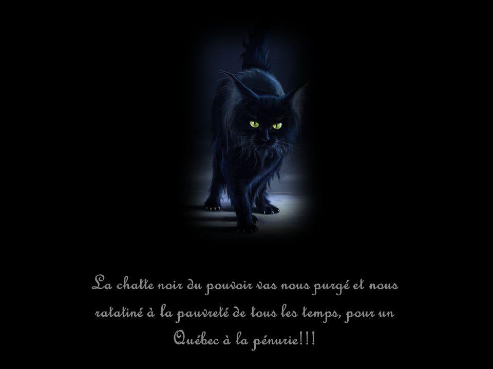 La chatte noir du pouvoir vas nous purgé et nous ratatiné à la pauvreté de tous les temps, pour un Québec à la pénurie!!!