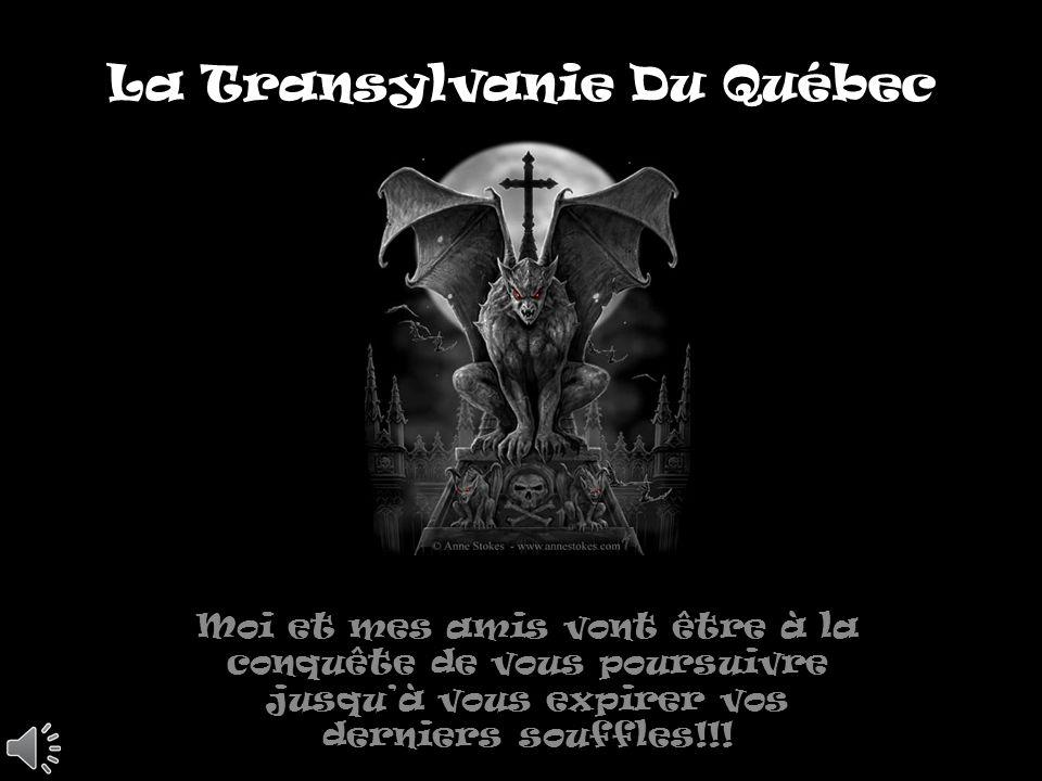 La Transylvanie Du Québec Moi et mes amis vont être à la conquête de vous poursuivre jusquà vous expirer vos derniers souffles!!!