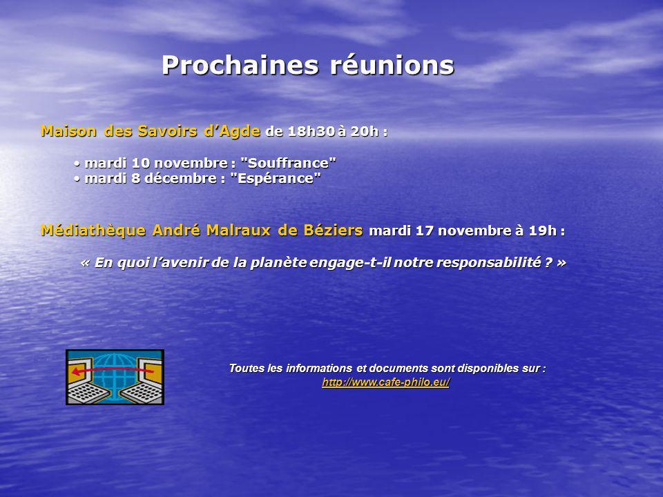 Maison des Savoirs dAgde de 18h30 à 20h : mardi 10 novembre :