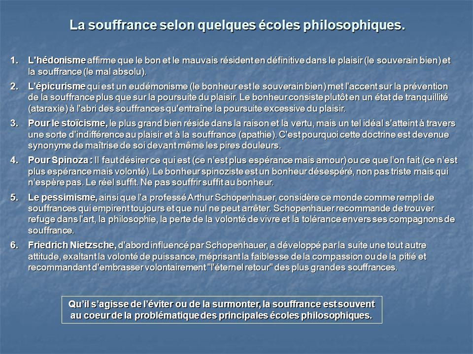 La souffrance selon quelques écoles philosophiques.