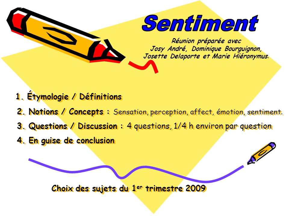 1. Étymologie / Définitions 2. Notions / Concepts : Sensation, perception, affect, émotion, sentiment. 3. Questions / Discussion : 4 questions, 1/4 h