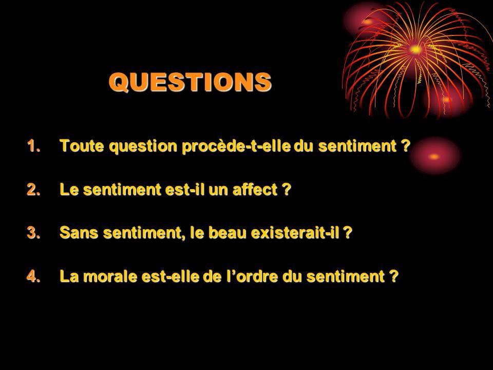 QUESTIONS 1.Toute question procède-t-elle du sentiment ? 2.Le sentiment est-il un affect ? 3.Sans sentiment, le beau existerait-il ? 4.La morale est-e