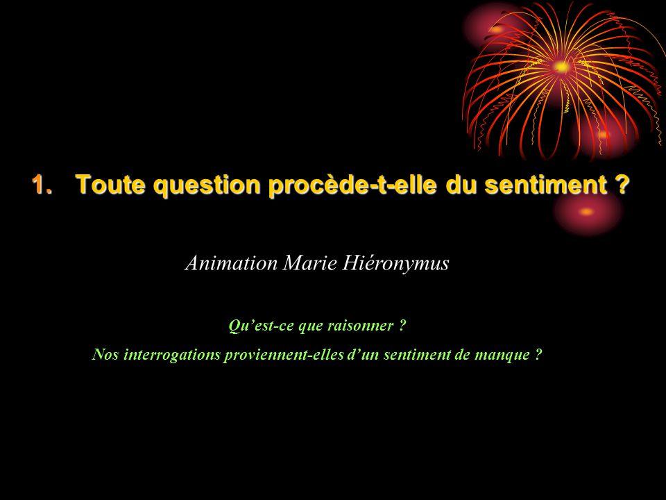 1.Toute question procède-t-elle du sentiment ? Animation Marie Hiéronymus Quest-ce que raisonner ? Nos interrogations proviennent-elles dun sentiment