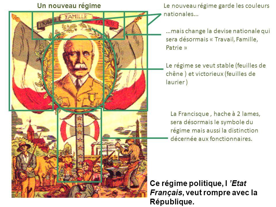 Un nouveau régime Le nouveau régime garde les couleurs nationales... …mais change la devise nationale qui sera désormais « Travail, Famille, Patrie »