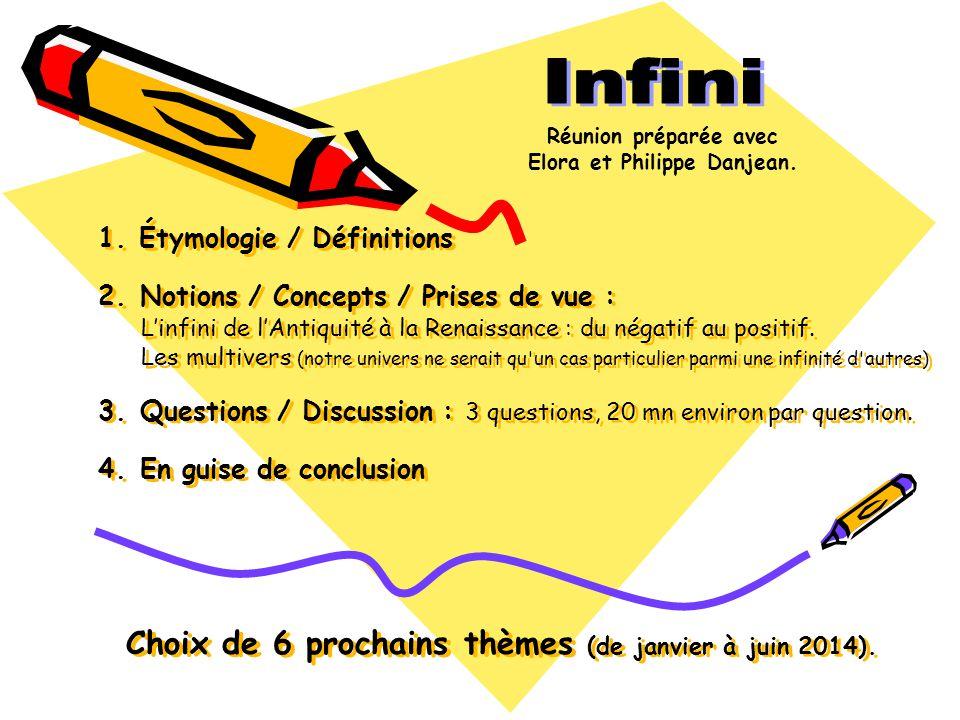 Étymologie et définitions Étymologie Infini vient du latin finis, fin, limite et de in, privatif.