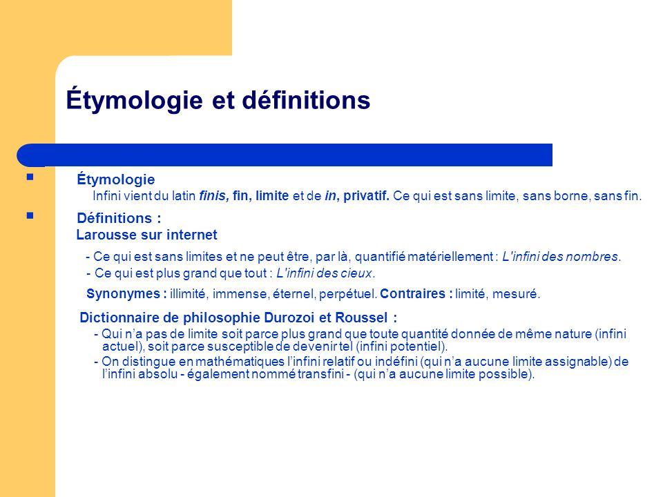 Étymologie et définitions Étymologie Infini vient du latin finis, fin, limite et de in, privatif. Ce qui est sans limite, sans borne, sans fin. Défini