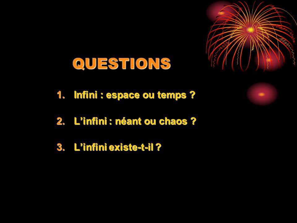 QUESTIONS 1.Infini : espace ou temps ? 2.Linfini : néant ou chaos ? 3.Linfini existe-t-il ?