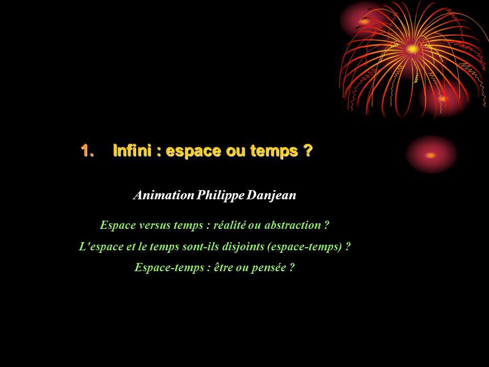 1.Infini : espace ou temps ? Animation Philippe Danjean Espace versus temps : réalité ou abstraction ? L'espace et le temps sont-ils disjoints (espace
