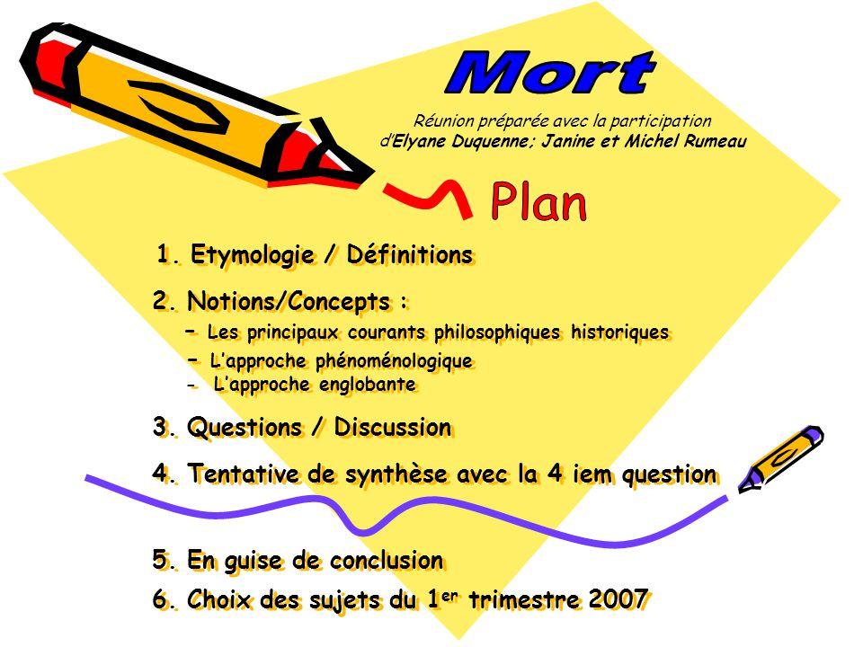1. Etymologie / Définitions 2. Notions/Concepts : - Les principaux courants philosophiques historiques - Lapproche phénoménologique - Lapproche englob