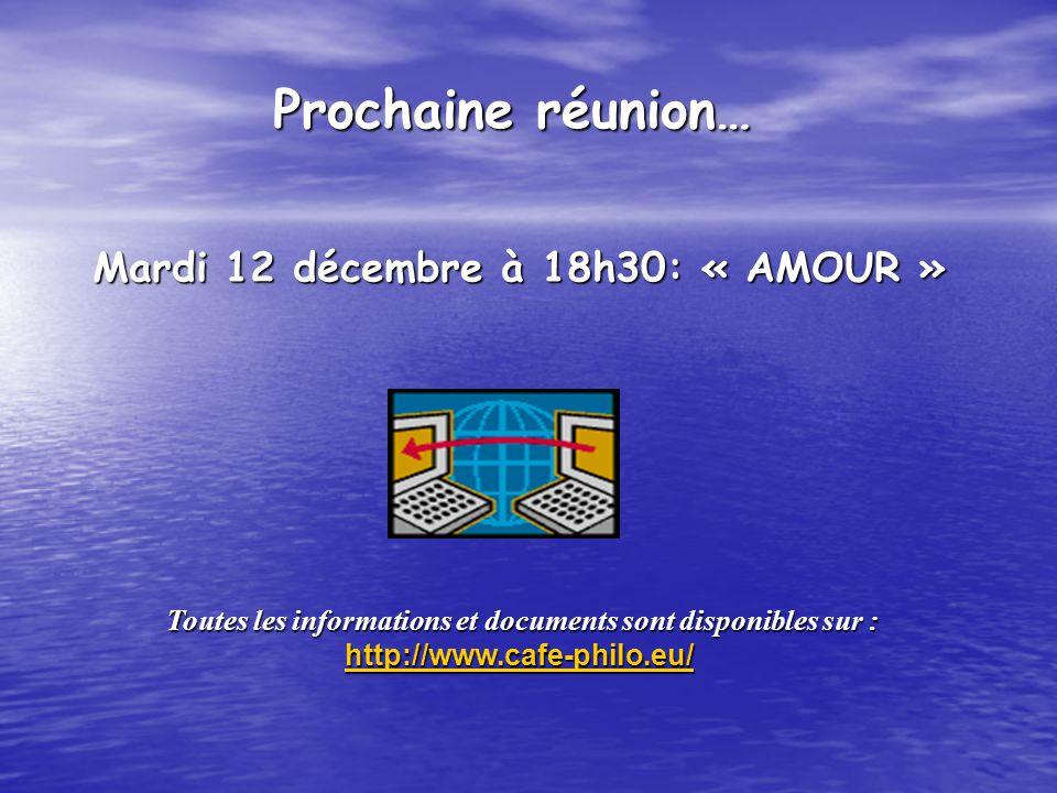 Mardi 12 décembre à 18h30: « AMOUR » Mardi 12 décembre à 18h30: « AMOUR » Toutes les informations et documents sont disponibles sur : http://www.cafe-