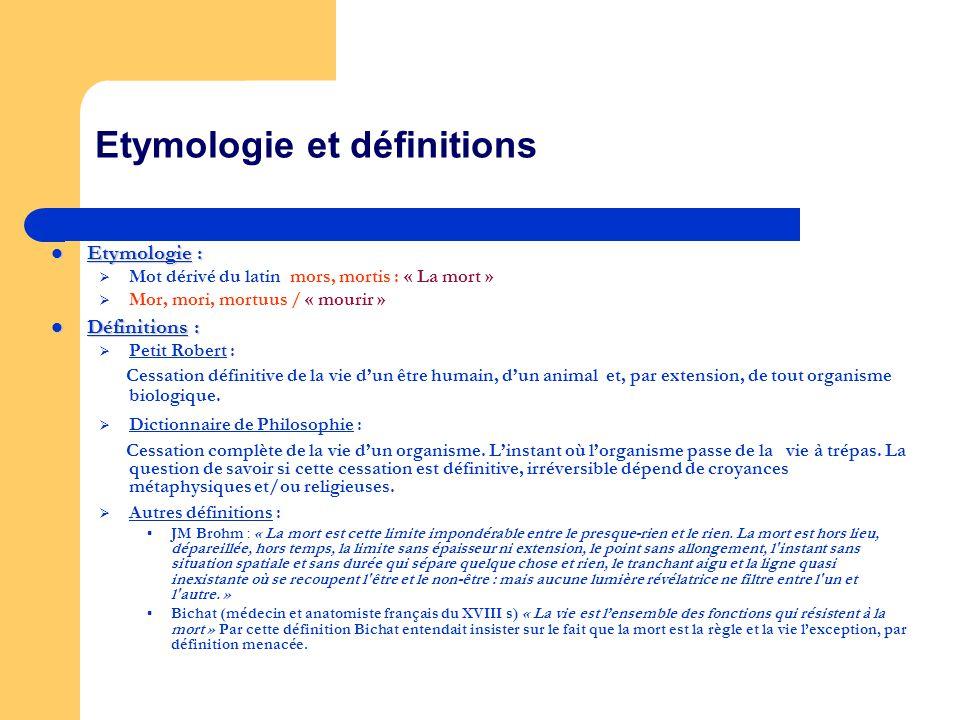 Etymologie et définitions Etymologie : Etymologie : Mot dérivé du latin mors, mortis : « La mort » Mor, mori, mortuus / « mourir » Définitions : Défin