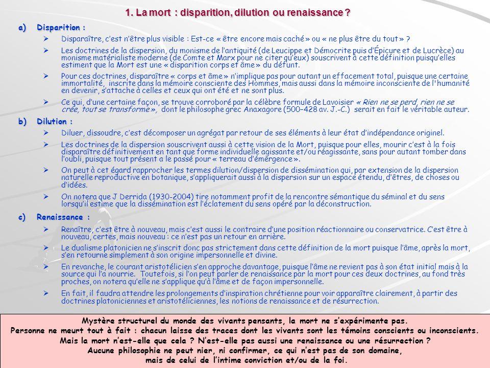 2.La mort : désordre ou nouvel ordre ; souffrance ou délivrance ?