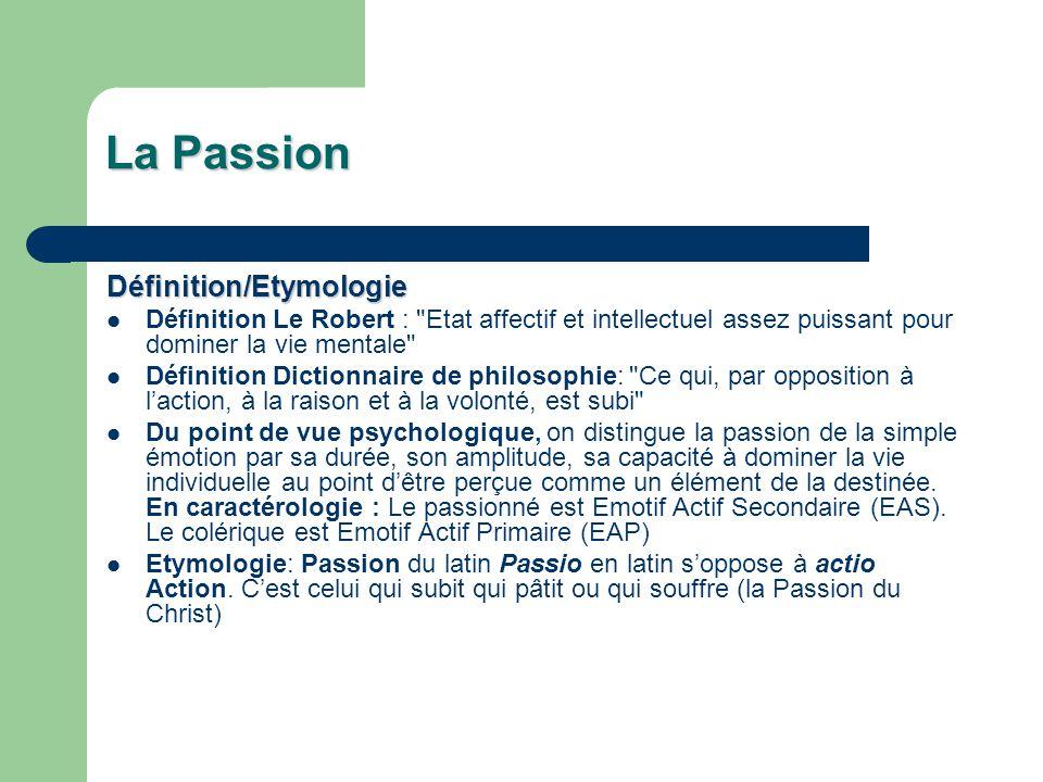 La Passion Définition/Etymologie Définition Le Robert :