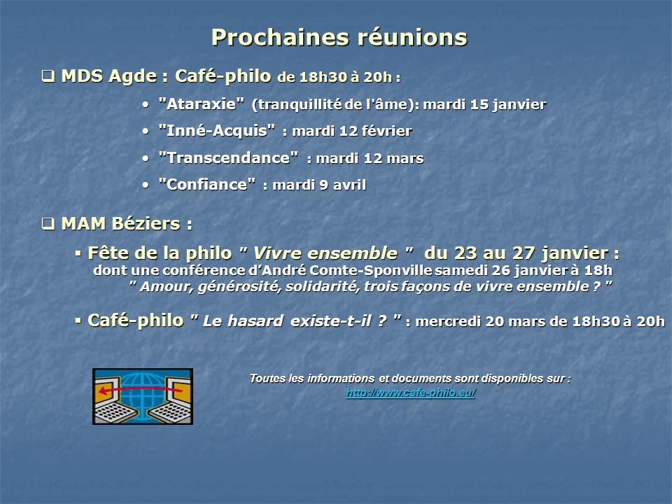 MDS Agde :Café-philo de 18h30 à 20h : MDS Agde : Café-philo de 18h30 à 20h :