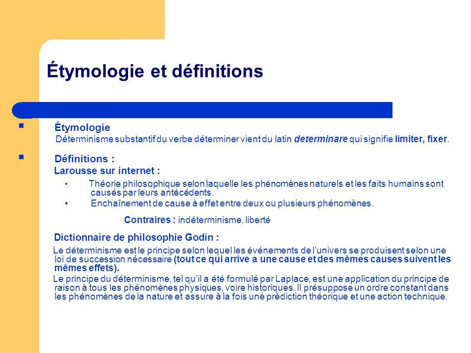 Étymologie et définitions Étymologie Déterminisme substantif du verbe déterminer vient du latin determinare qui signifie limiter, fixer. Définitions :