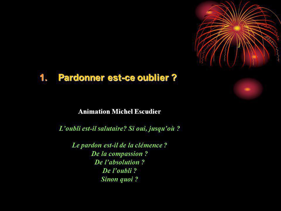 1.Pardonner est-ce oublier ? Animation Michel Escudier Loubli est-il salutaire? Si oui, jusquoù ? Le pardon est-il de la clémence ? De la compassion ?